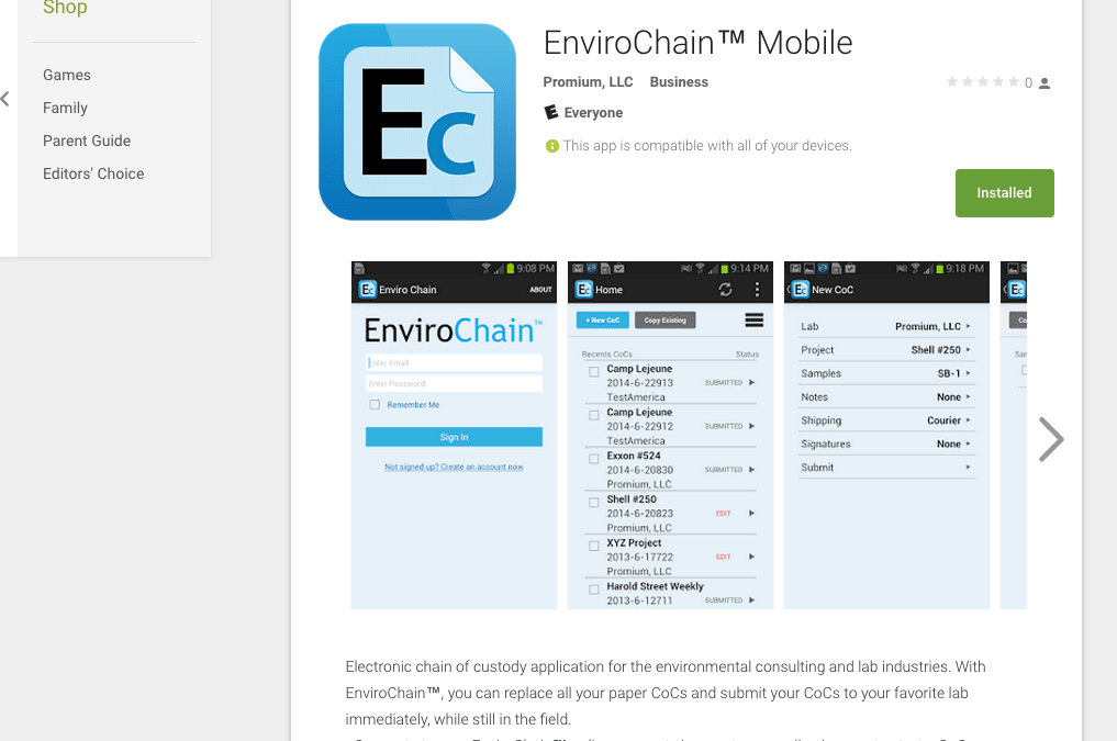 EnviroChain Mobile for Android Updated, Supports Custom Field Parameters